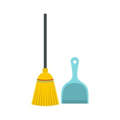 Broom and dustpan icon, flat style