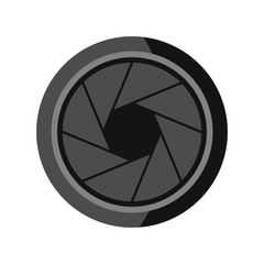 Photographic objective icon, flat style