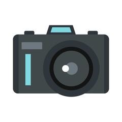 Photocamera icon, flat style