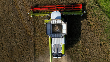 Combine harvester viewed from above