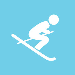 skier silhouette web icon- vector illustration