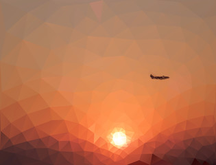 High quality low poly picture of the crimson sunset in the mountains with a flying plane. Modern trendy triangle geometric style.