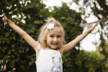 Portrait of excited Caucasian girl