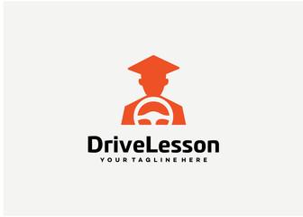 Drive Lesson Logo Template Design Vector, Emblem, Design Concept, Creative Symbol, Icon
