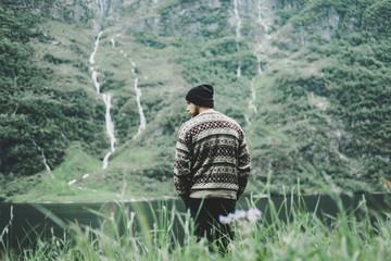 Caucasian man admiring scenic view of river