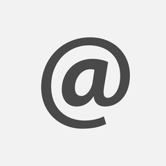 email sign ampersat and internet vector icon black and white background