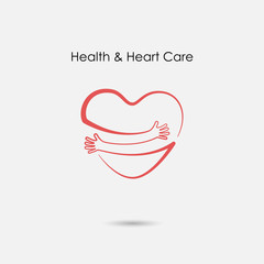 Red heart shape with hand embrace.Hug yourself logo.Love yourself logo.Love and Heart Care icon.Happy valentines day concept.Healthcare & medical concept.