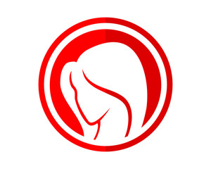 red circle woman silhouette icon