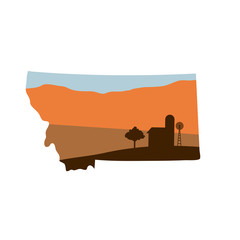 Montana State Shape with Farm at Sunset w Windmill, Barn, and a Tree