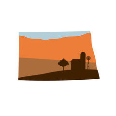 State Shape with Farm at Sunset w Windmill, Barn, and a Tree