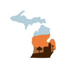 Michigan State Shape with Farm at Sunset w Windmill, Barn, and a Tree
