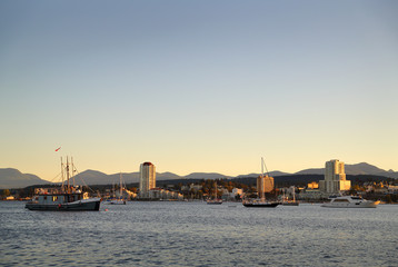 Nanaimo Harbor Dusk, British Columbia. Waterfront condominiums overlook the harbor and marina in Downtown Nanaimo, British Columbia, Canada.