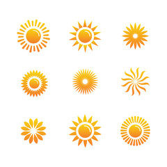Basic or Normal Sun Icon Set w shining rays of sun