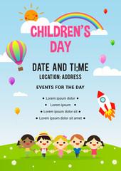 Children's day Poster invitation vector illustration. Group of kids holding hands.