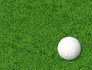 Golf ball in grass background