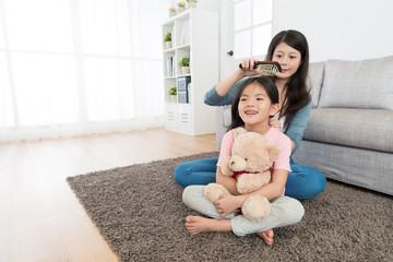 happy cute girl children holding teddy bear