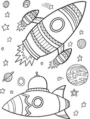 Stores à enrouleur Cartoon draw Outer Space Vector Illustration Art