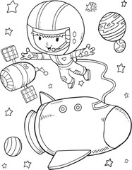 Outer Space Astronaut Space Shuttle Vector Illustration Art