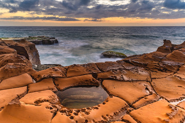 Overcast Sunrise Seascape and Rock Platform