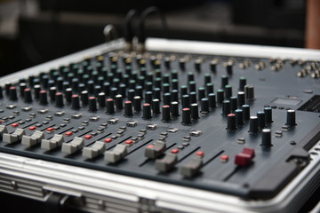 Sound technician audio mixer equalizer control.Sound Mastering For Radio and TV Broadcast.