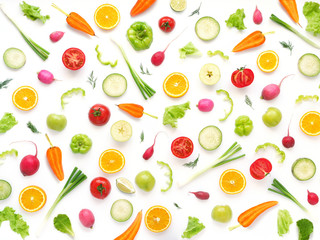 Fototapete - Wallpaper abstract composition of fruits and vegetables. Food pattern vegetables. Healthy food concept. Vegetables isolated, top view.