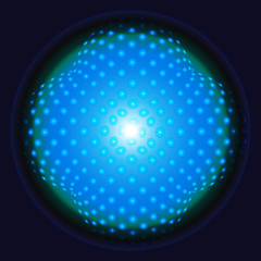 Abstract blue made with tiny spheres logo vector