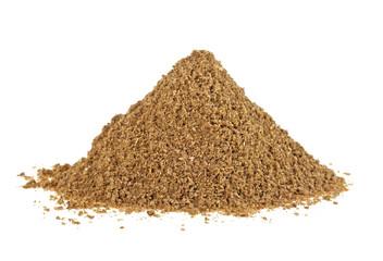 Heap of coriander powder on white background