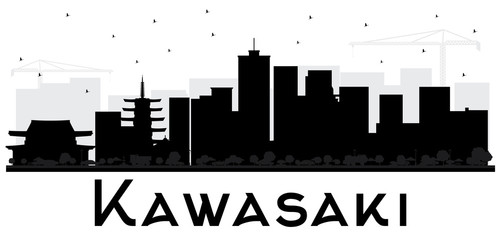Kawasaki Japan City Skyline Black and White Silhouette.