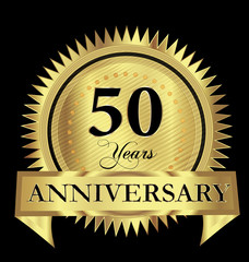 50 years anniversary gold seal logo vector design