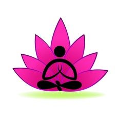 Lotus yoga man logo vector