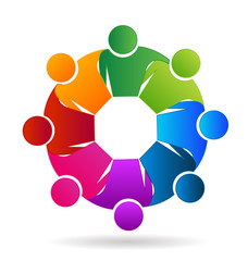 Logo teamwork hug people concept of meeting community social media networking diversity union workers children business vector design