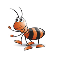 vector cartoon ant walking with smile