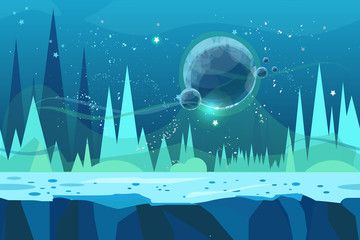 Seamless cartoon vector landscape for game. Ice desert concept illustration with planet. Vector illustration for your design.Ready for parallax effect.