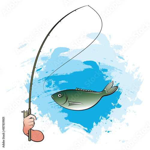 Hand Catching Big Fish With Fishing Pole Vector Cartoon Stock Image