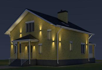 Lighting yellow brick house