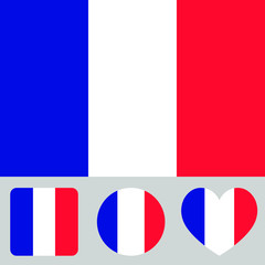 Flag of France vector illustration. The color and size of the original French flag. Colored in flag colors shapes: square, circle, heart