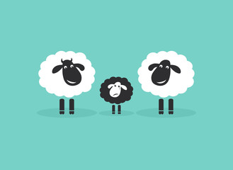 Vector of family sheep on blue background, Farm. Animals. Difference concept. Easy editable layered vector illustration.