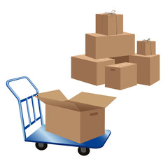 Cardboard boxes stack and blue baggage cart with opened box. Boxes for house move or shipment of cargo. Vector illustration isolated on white background