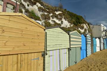 Beach huts on Viking Bay beach, Broadstairs, Kent
