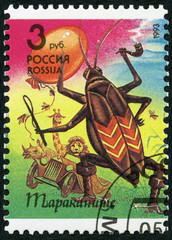 RUSSIA - 1993: shows Big Cockroach, series Characters from books by K.I.Chukovsky