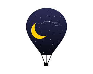 crescent moon night air balloon image icon