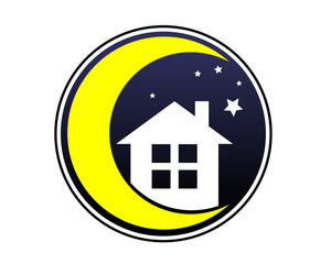 night crescent moon house silhouette image icon