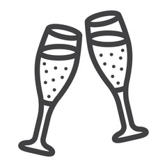 Two glasses of champagne line icon, valentines day and romantic, celebrate sign vector graphics, a linear pattern on a white background, eps 10.