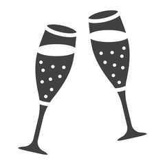 Two glasses of champagne glyph icon, valentines day and romantic, celebrate sign vector graphics, a solid pattern on a white background, eps 10.