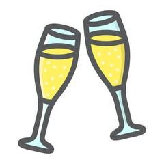 Two glasses of champagne filled outline icon, valentines day and romantic, celebrate sign vector graphics, a colorful line pattern on a white background, eps 10.