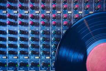 record on sound mixer. music background
