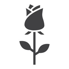 Rose flower glyph icon, valentines day and romantic, love sign vector graphics, a solid pattern on a white background, eps 10.