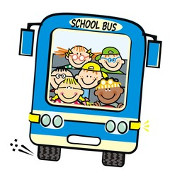 Blue bus and kids, school bus, vector humorous illustration