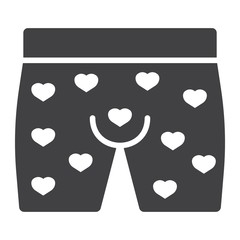 Men underwear with hearts glyph icon, valentines day and romantic, men briefs sign vector graphics, a solid pattern on a white background, eps 10.
