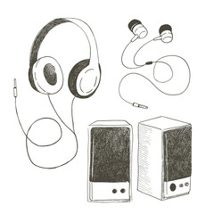 Different earphones and musical columns. The vector sketch isolated on a white background